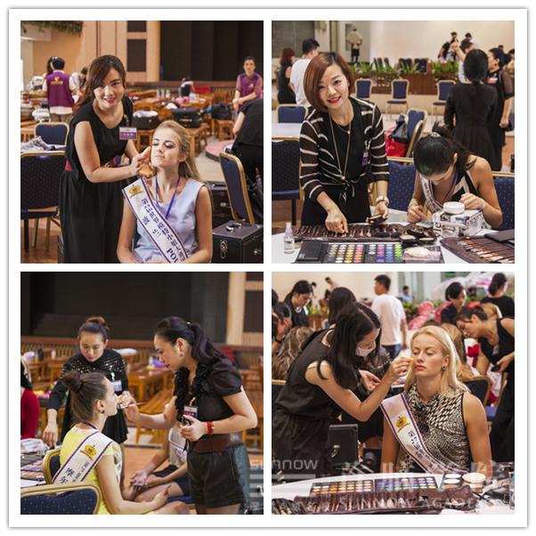 首脑学院化妆造型团队为世界模特小姐化妆