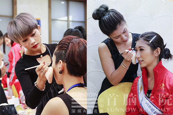 首脑化妆学校化妆师为世界模特小姐化妆