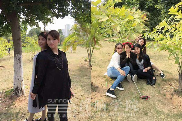 首脑学院宝安校区美容毕业学员陆瑶与同学的生活照